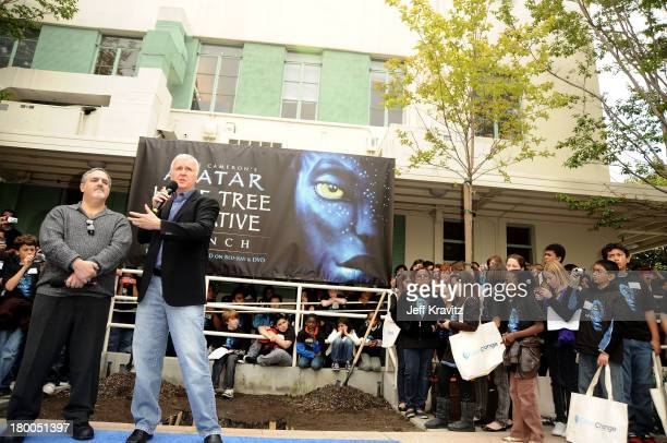 Producer Jon Landau and director James Cameron plants first tree in North America symbolizing the one million tree initiative on behalf of the Avatar...