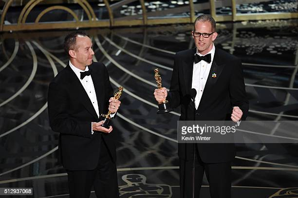 Producer Jonas Rivera and director Pete Docter accept the Best Animated Feature Film award for 'Inside Out' onstage during the 88th Annual Academy...