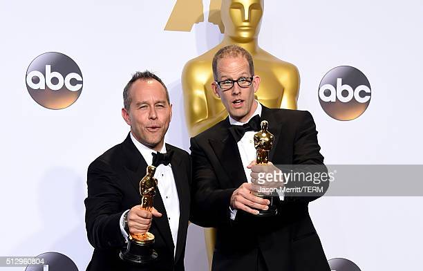 Producer Jonas Rivera and director Pete Docter winners of the Best Animated Feature Film award for 'Inside Out' pose in the press room during the...