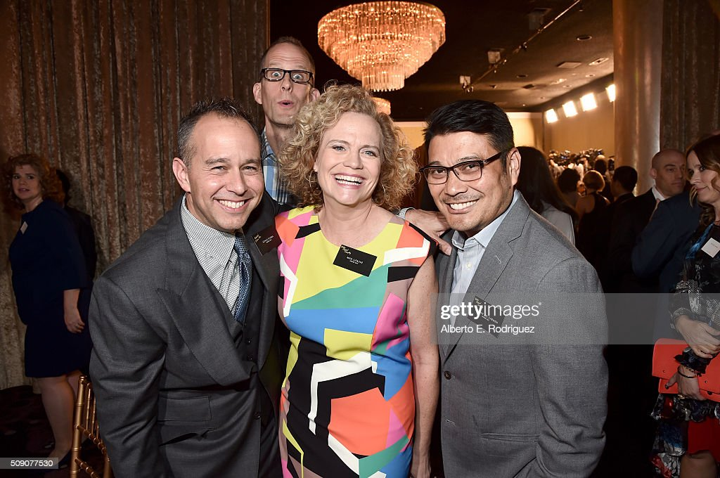 Producer <a gi-track='captionPersonalityLinkClicked' href=/galleries/search?phrase=Jonas+Rivera&family=editorial&specificpeople=5852360 ng-click='$event.stopPropagation()'>Jonas Rivera</a>, director/screenwriter <a gi-track='captionPersonalityLinkClicked' href=/galleries/search?phrase=Pete+Docter&family=editorial&specificpeople=3014517 ng-click='$event.stopPropagation()'>Pete Docter</a>, screenwriters <a gi-track='captionPersonalityLinkClicked' href=/galleries/search?phrase=Meg+LeFauve&family=editorial&specificpeople=3210939 ng-click='$event.stopPropagation()'>Meg LeFauve</a> and Ronnie del Carmen attend the 88th Annual Academy Awards nominee luncheon on February 8, 2016 in Beverly Hills, California.