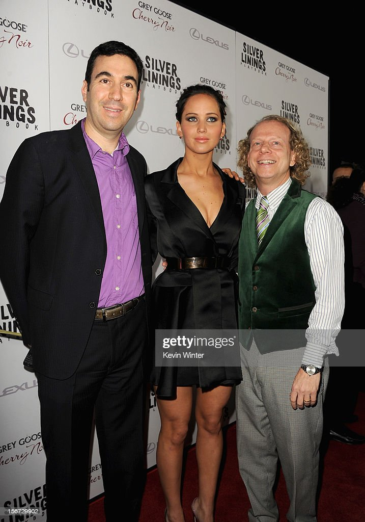 Producer Jonathan, actress Jennifer Lawrence and producer Bruce Cohen attend a screening of The Weinstein Company's 'Silver Linings Playbook' at the Academy of Motion Picture Arts and Sciences on November 19, 2012 in Beverly Hills, California.