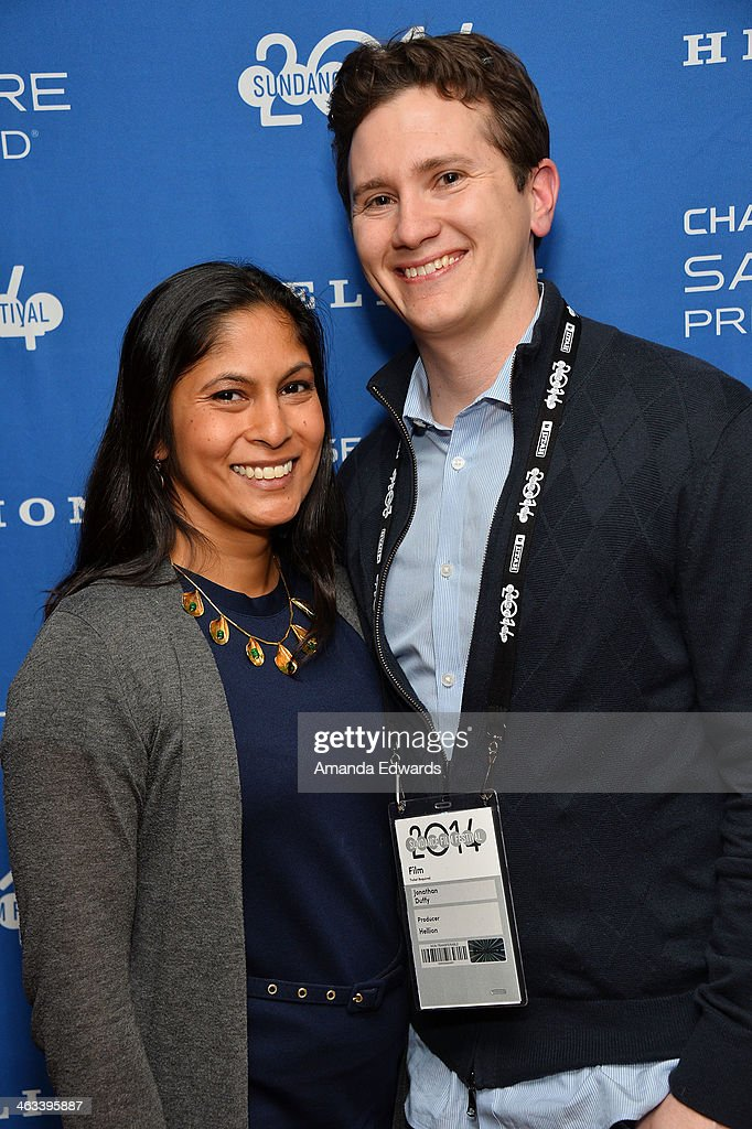 Producer Jonathan Duffy (R) and his wife Naila Ahmed arrive at the 'Hellion' premiere party at Chase Sapphire on January 17, 2014 in Park City, Utah.