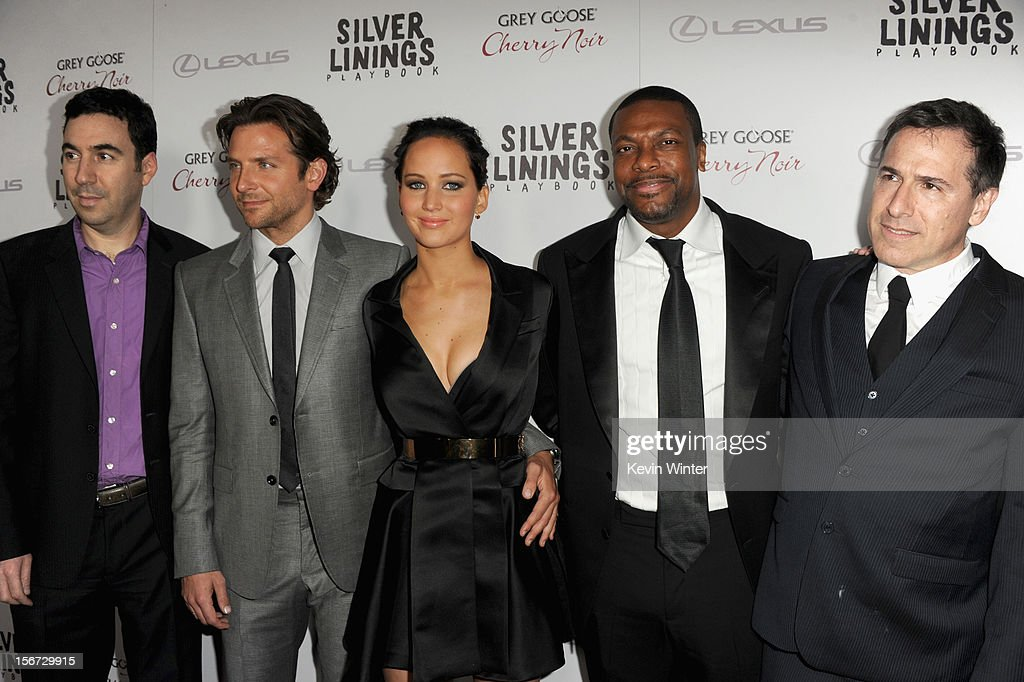 Producer Jonathan Gordon, actor Bradley Cooper, actress Jennifer Lawrence, actor Chris Tucker and director David O. Russell attend a screening of The Weinstein Company's 'Silver Linings Playbook' at the Academy of Motion Picture Arts and Sciences on November 19, 2012 in Beverly Hills, California.