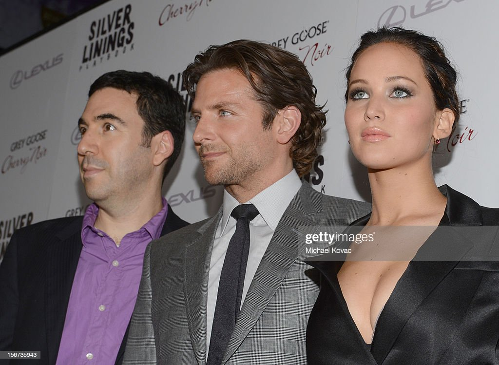 Producer Jonathan Gordon, actors <a gi-track='captionPersonalityLinkClicked' href=/galleries/search?phrase=Bradley+Cooper&family=editorial&specificpeople=680224 ng-click='$event.stopPropagation()'>Bradley Cooper</a> and <a gi-track='captionPersonalityLinkClicked' href=/galleries/search?phrase=Jennifer+Lawrence&family=editorial&specificpeople=1596040 ng-click='$event.stopPropagation()'>Jennifer Lawrence</a> attend a special screening of 'Silver Linings Playbook' presented by The Weinstein Company sponsored by Grey Goose and Lexus at AMPAS Samuel Goldwyn Theater on November 19, 2012 in Beverly Hills, California.