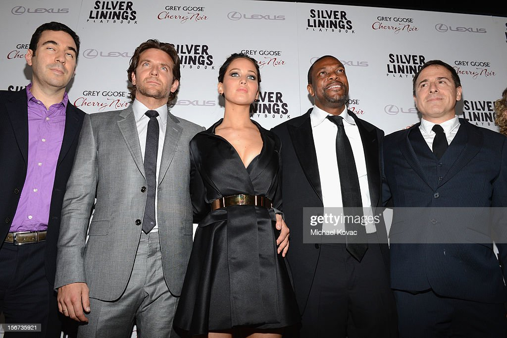 Producer Jonathan Gordon, actors Bradley Cooper, Jennifer Lawrence, Chris Tucker and director David O. Russell attend a special screening of 'Silver Linings Playbook' presented by The Weinstein Company sponsored by Grey Goose and Lexus at AMPAS Samuel Goldwyn Theater on November 19, 2012 in Beverly Hills, California.