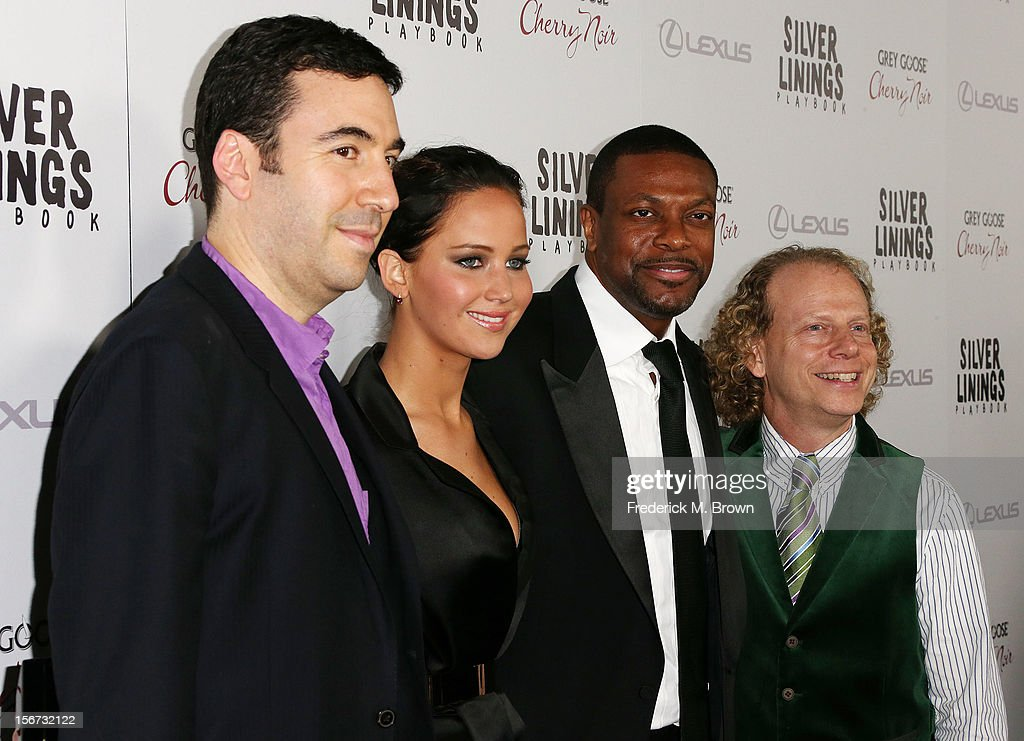 Producer Jonathan Gordon, actress Jennifer Lawrence, actor Chris Tucker, and producer Bruce Cohen attend the Screening Of The Weinstein Company's 'Silver Linings Playbook' at The Academy of Motion Pictures Arts and Sciences on November 19, 2012 in Beverly Hills, California.