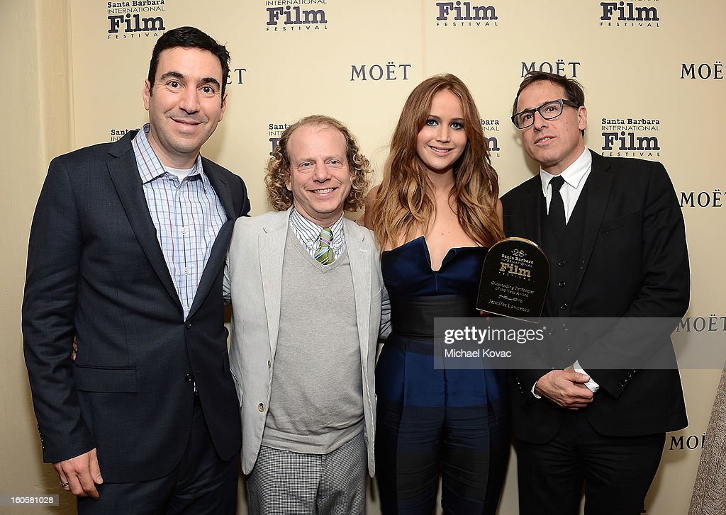 Producer Jonathan Gordon, producer <a gi-track='captionPersonalityLinkClicked' href=/galleries/search?phrase=Bruce+Cohen&family=editorial&specificpeople=820103 ng-click='$event.stopPropagation()'>Bruce Cohen</a>, actress <a gi-track='captionPersonalityLinkClicked' href=/galleries/search?phrase=Jennifer+Lawrence&family=editorial&specificpeople=1596040 ng-click='$event.stopPropagation()'>Jennifer Lawrence</a> and director <a gi-track='captionPersonalityLinkClicked' href=/galleries/search?phrase=David+O.+Russell&family=editorial&specificpeople=215306 ng-click='$event.stopPropagation()'>David O. Russell</a> visit The Moet & Chandon Lounge at The Santa Barbara International Film Festival on February 2, 2013 in Santa Barbara, California.