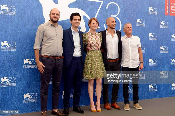 Producer Jordan Horowitz director Damien Chazelle actress Emma Stone producers Fred Berger and Marc Platt attend a photocall for 'La La Land' during...