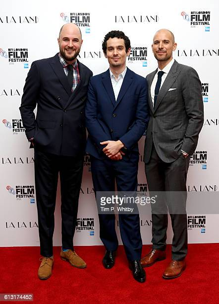 Producer Jordan Horowitz director Damien Chazelle and producer Fred Berger attend the 'La La Land' Patrons Gala screening during the 60th BFI London...