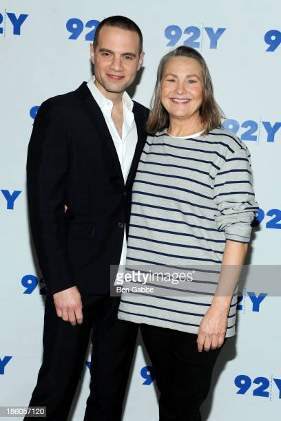 Producer Jordan Roth and actress Cherry Jones attend 'Broadway Talks with Jordan Roth' presented by 92Y at 92Y on October 27 2013 in New York City