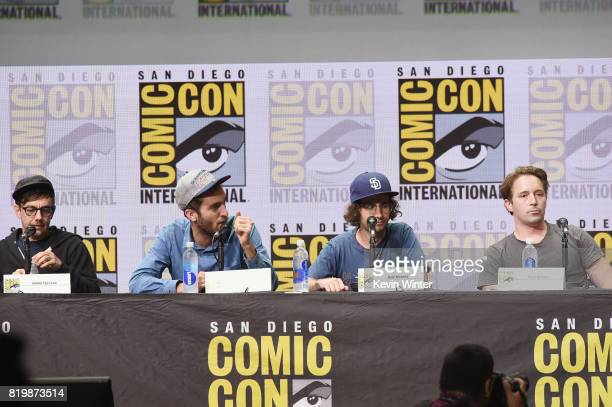 Producer Jorma Taccone director Dave McCary screenwriter Kyle Mooney and actor Beck Bennett speak onstage at the 'Brigsby Bear' cast and filmmakers...