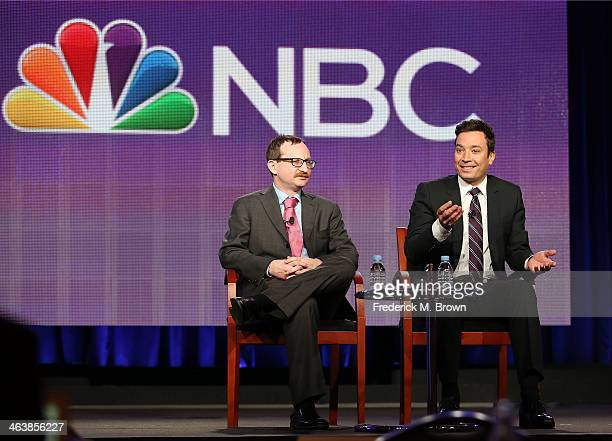 Producer Josh Lieb and host Jimmy Fallon of the television show 'The Tonight Show Starring Jimmy Fallon' speak during the NBC portion of the 2014...