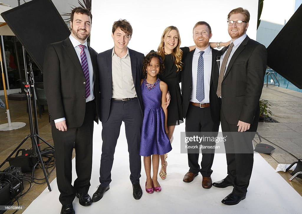 Producer Josh Penn; writer/director <a gi-track='captionPersonalityLinkClicked' href=/galleries/search?phrase=Benh+Zeitlin&family=editorial&specificpeople=6711208 ng-click='$event.stopPropagation()'>Benh Zeitlin</a>; actress <a gi-track='captionPersonalityLinkClicked' href=/galleries/search?phrase=Quvenzhan%C3%A9+Wallis&family=editorial&specificpeople=8807270 ng-click='$event.stopPropagation()'>Quvenzhané Wallis</a>; writer Lucy Alibar; producer Michael Gottwald; and producer Dan Janvey pose for a portrait during the 85th Academy Awards Nominations Luncheon at The Beverly Hilton Hotel on February 4, 2013 in Beverly Hills, California.