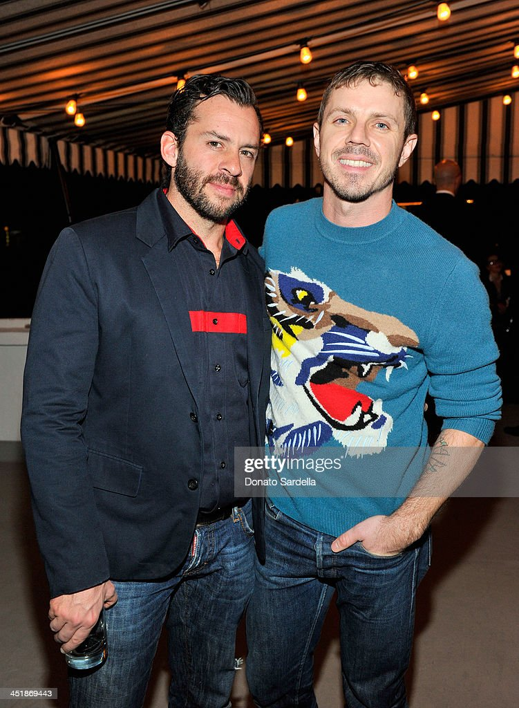 Producer Josh Woods (L) and singer <a gi-track='captionPersonalityLinkClicked' href=/galleries/search?phrase=Jake+Shears&family=editorial&specificpeople=204691 ng-click='$event.stopPropagation()'>Jake Shears</a> attend a private dinner in honor of Jennifer Lopez hosted by Dean and Dan of Dsquared2 at Chateau Marmont on November 24, 2013 in Los Angeles, California.