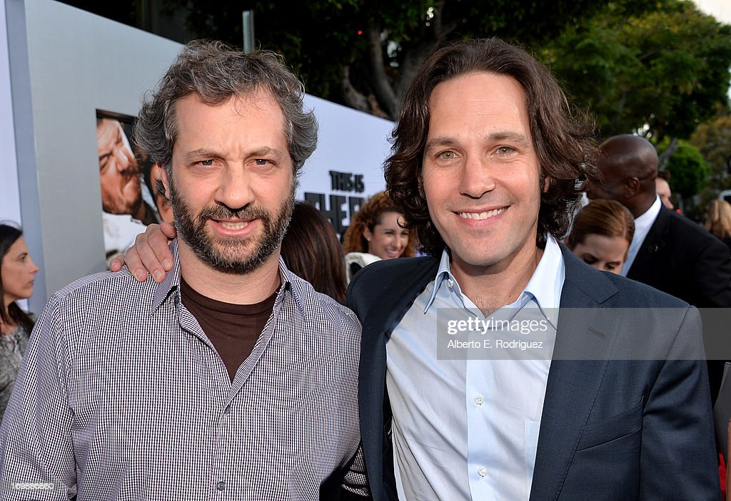 Producer <a gi-track='captionPersonalityLinkClicked' href=/galleries/search?phrase=Judd+Apatow&family=editorial&specificpeople=854225 ng-click='$event.stopPropagation()'>Judd Apatow</a> and actor <a gi-track='captionPersonalityLinkClicked' href=/galleries/search?phrase=Paul+Rudd&family=editorial&specificpeople=209014 ng-click='$event.stopPropagation()'>Paul Rudd</a> attend Columbia Pictures' 'This Is The End' premiere at Regency Village Theatre on June 3, 2013 in Westwood, California.