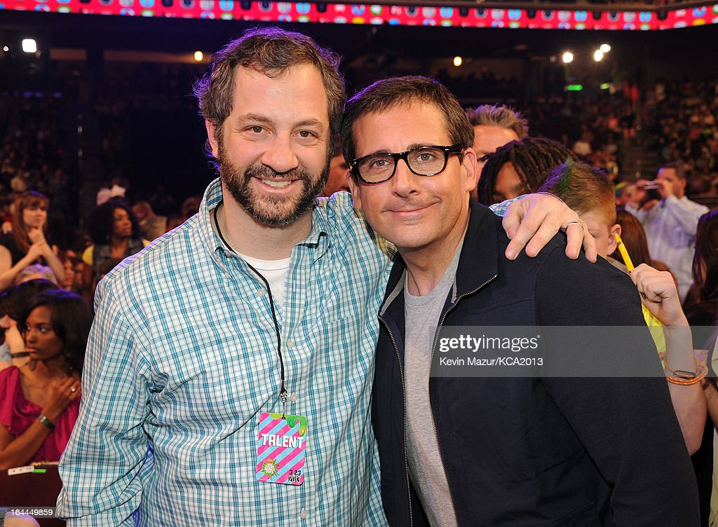 Producer Judd Apatow (L) and actor Steve Carell attend Nickelodeon's 26th Annual Kids' Choice Awards at USC Galen Center on March 23, 2013 in Los Angeles, California.