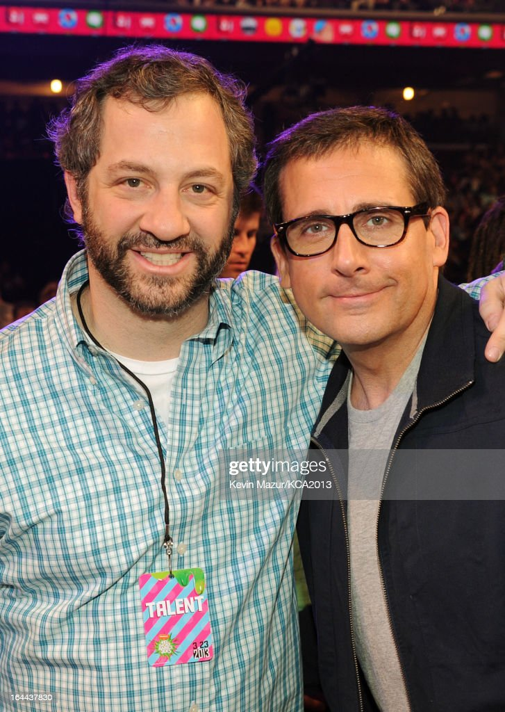 Producer <a gi-track='captionPersonalityLinkClicked' href=/galleries/search?phrase=Judd+Apatow&family=editorial&specificpeople=854225 ng-click='$event.stopPropagation()'>Judd Apatow</a> (L) and actor Steve Carrel attend Nickelodeon's 26th Annual Kids' Choice Awards at USC Galen Center on March 23, 2013 in Los Angeles, California.