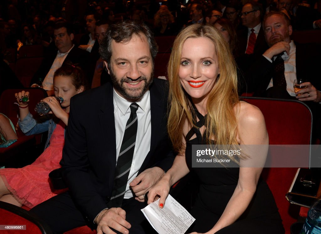 Producer Judd Apatow and Comedy Star of the Year award winner Leslie Mann attend The CinemaCon Big Screen Achievement Awards brought to you by The...