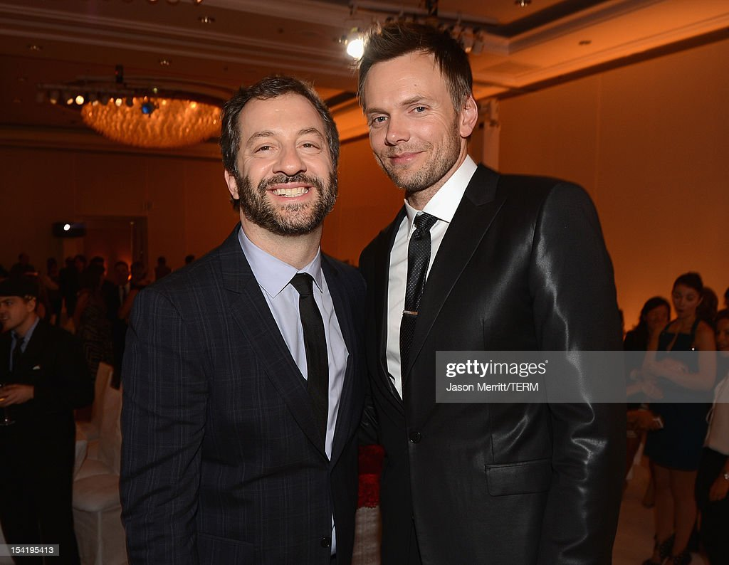 Producer <a gi-track='captionPersonalityLinkClicked' href=/galleries/search?phrase=Judd+Apatow&family=editorial&specificpeople=854225 ng-click='$event.stopPropagation()'>Judd Apatow</a> (L) and host <a gi-track='captionPersonalityLinkClicked' href=/galleries/search?phrase=Joel+McHale&family=editorial&specificpeople=754384 ng-click='$event.stopPropagation()'>Joel McHale</a> attend ELLE's 19th Annual Women In Hollywood Celebration at the Four Seasons Hotel on October 15, 2012 in Beverly Hills, California.