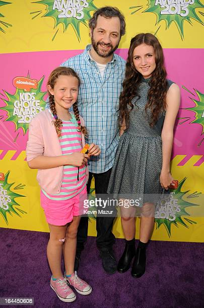 Producer Judd Apatow with daughters Iris Apatow and Maude Apatow arrives at Nickelodeon's 26th Annual Kids' Choice Awards at USC Galen Center on...