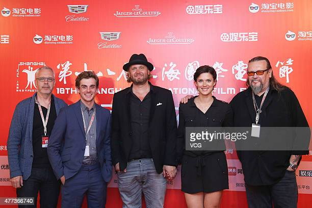 Producer Jukka Helle actor Lauri Tilkanen director Antti Jokinen actress Krista Kosonen and producer Markus Selin attend 'The Midwife' press...