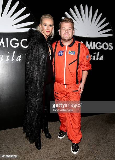 Producer Julia Carey and TV host James Corden arrives to the Casamigos Halloween Party at a private residence on October 28 2016 in Beverly Hills...