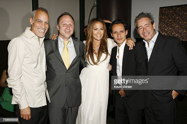 Producer Julio Caro Picturehouse's Bob Berney actress/producer Jennifer Lopez actor/singer Marc Anthony and producer Simon Fields pose at the...