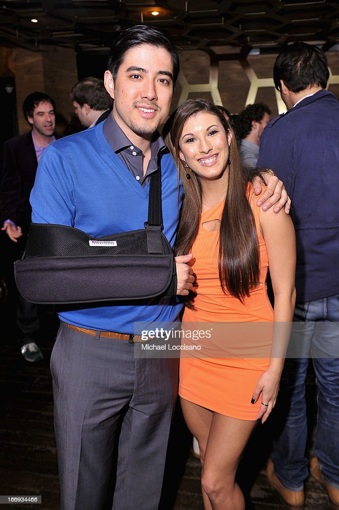 Producer Justin Nappi (L) and Leah Lauren attend the 'Adult World' premiere after party during the 2013 Tribeca Film Festival at Darby Downstairs on April 18, 2013 in New York City. (Photo by Michael Loccisano/Getty Images for 2013 Tribeca Film Festival)(