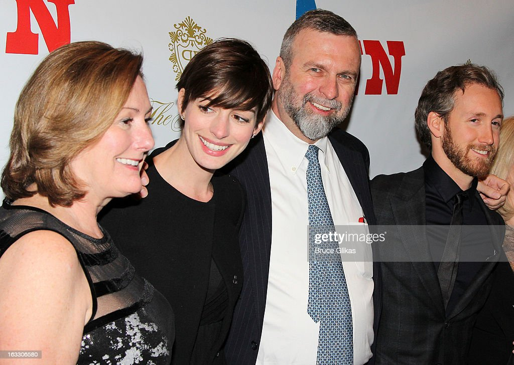 Producer Kate McCauley Hathaway, daughter <a gi-track='captionPersonalityLinkClicked' href=/galleries/search?phrase=Anne+Hathaway+-+Actress&family=editorial&specificpeople=11647173 ng-click='$event.stopPropagation()'>Anne Hathaway</a>, Gerald Hathaway and <a gi-track='captionPersonalityLinkClicked' href=/galleries/search?phrase=Adam+Shulman&family=editorial&specificpeople=4682498 ng-click='$event.stopPropagation()'>Adam Shulman</a> attend the opening night of 'Ann' at Vivian Beaumont Theatre at Lincoln Center on March 7, 2013 in New York City.