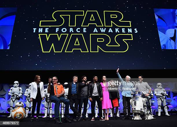Producer Kathleen Kennedy actors Peter Mayhew Mark Hamill Oscar Isaac John Boyega Daisy Ridley Carrie Fisher Anthony Daniels and director JJ Abrams...