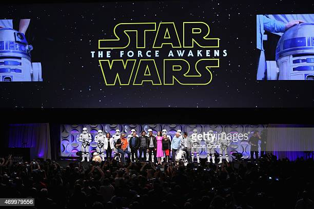 Producer Kathleen Kennedy actors Peter Mayhew Mark Hamill Oscar Isaac John Boyega Daisy Ridley Carrie Fisher Anthony Daniels director JJ Abrams and...
