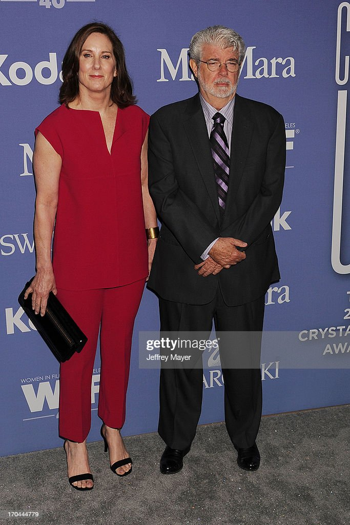 Producer Kathleen Kennedy and producer/director George Lucas attend Women In Film's 2013 Crystal + Lucy Awards at The Beverly Hilton Hotel on June 12, 2013 in Beverly Hills, California.