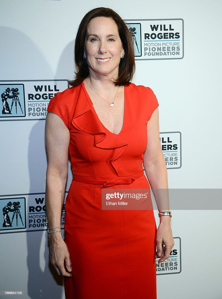 Producer Kathleen Kennedy arrives at a Will Rogers Motion Picture Pioneers Foundation dinner honoring her with the 2013 Pioneer of the Year Award at Caesars Palace during CinemaCon, the official convention of the National Association of Theatre Owners, on April 17, 2013 in Las Vegas, Nevada.