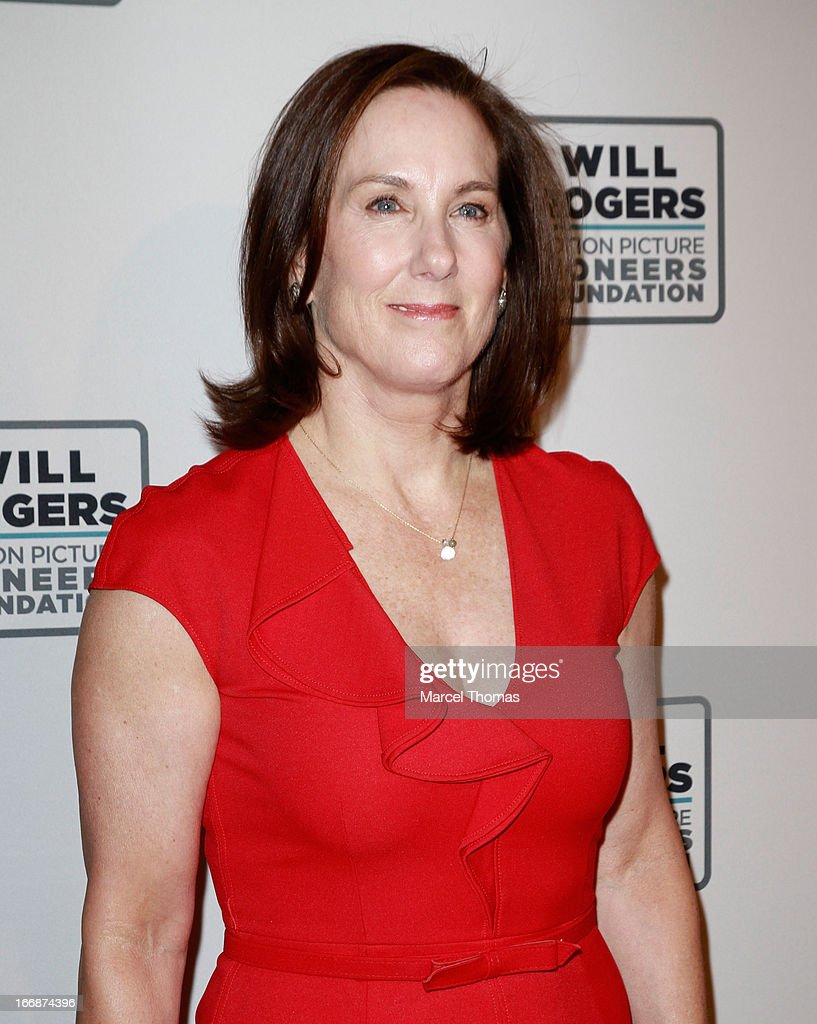 Producer Kathleen Kennedy arrives at a Will Rogers Motion Pictures Pioneers Foundation dinner honoring her with the 2013 Pioneer of the Year Award during CinemaCon 2013 at Caesars Palace on April 17, 2013 in Las Vegas, Nevada.