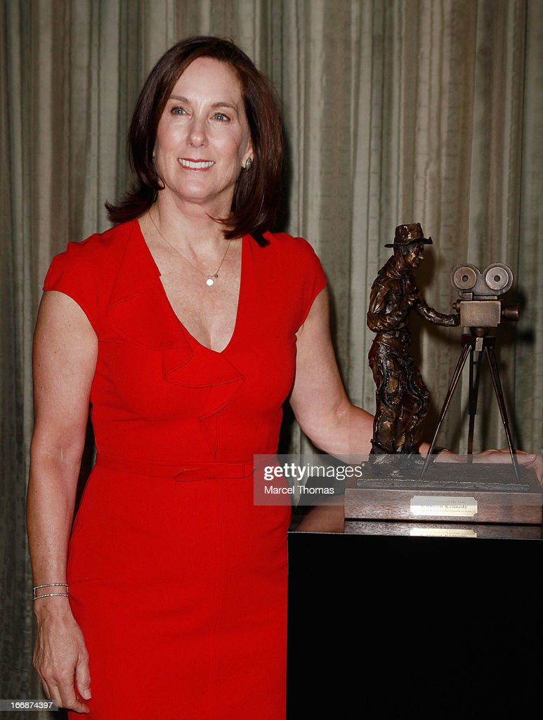 Producer Kathleen Kennedy poses with her Will Roger's Pioneer Award during CinemaCon 2013 at Caesars Palace at on April 17, 2013 in Las Vegas, Nevada.