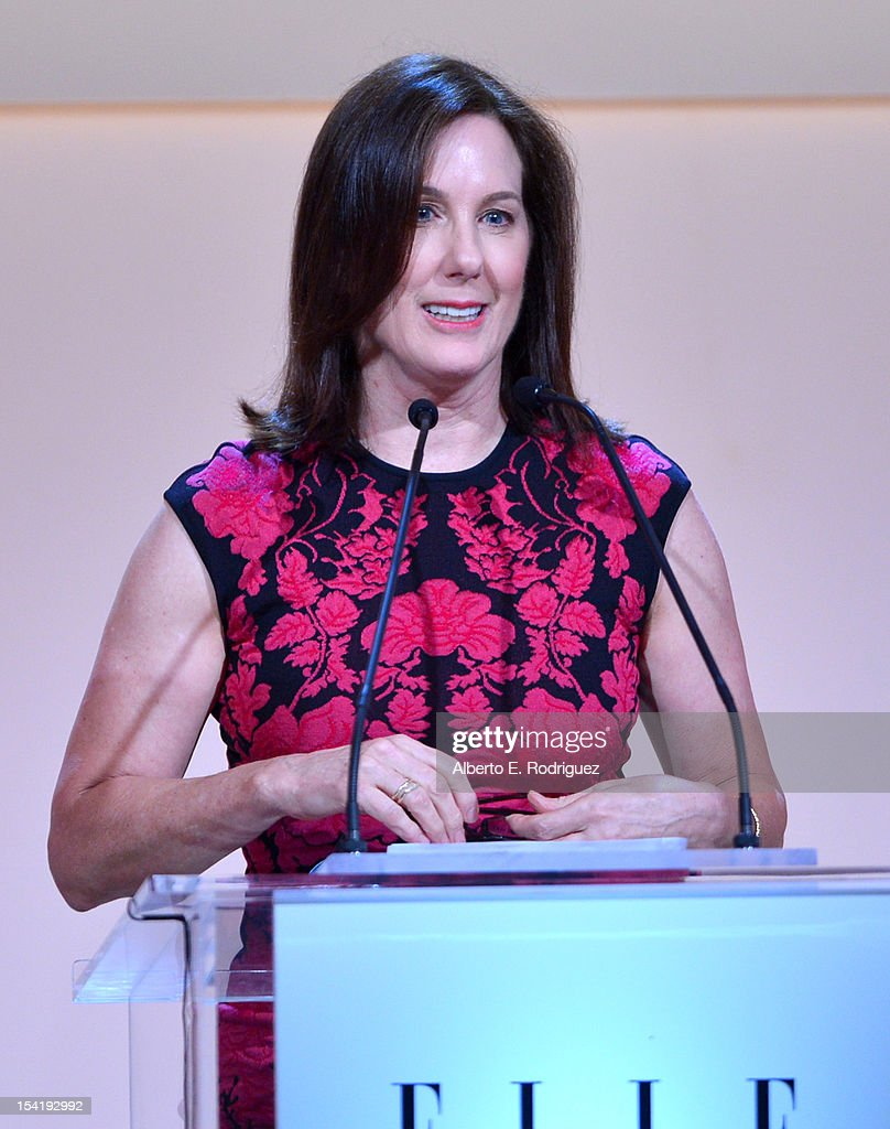 Producer Kathleen Kennedy speaks onstage at ELLE's 19th Annual Women In Hollywood Celebration at the Four Seasons Hotel on October 15, 2012 in Beverly Hills, California.