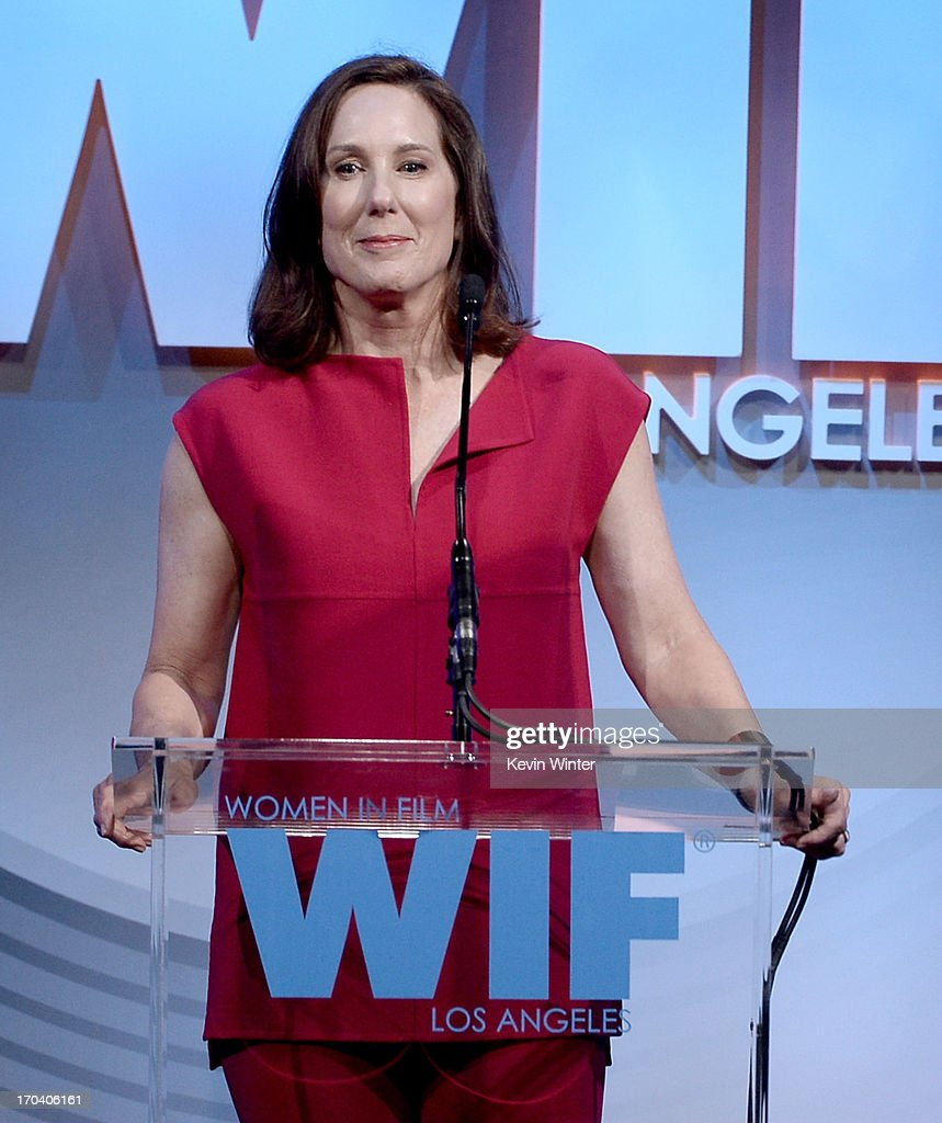 Producer Kathleen Kennedy speaks onstrage during Women In Film's 2013 Crystal + Lucy Awards at The Beverly Hilton Hotel on June 12, 2013 in Beverly Hills, California.