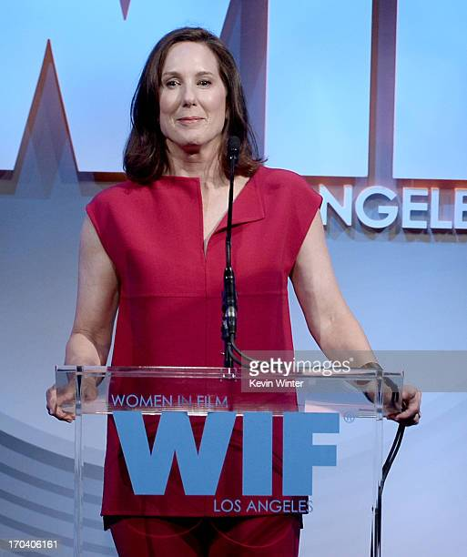Producer Kathleen Kennedy speaks onstrage during Women In Film's 2013 Crystal Lucy Awards at The Beverly Hilton Hotel on June 12 2013 in Beverly...
