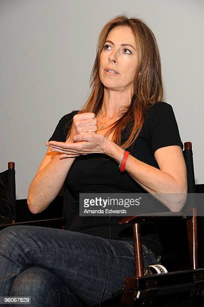 Producer Kathryn Bigelow participates in a Q A discussion at the Producers Guild Awards Nominees Breakfast at the Landmark Theater on January 23 2010...