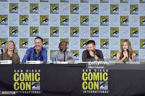 Producer Kelly Kulchak writer/producer Steve Franks actors Dule Hill James Roday and Maggie Lawson speak onstage at the 'Psych' reunion and movie...