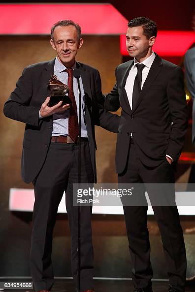 Producer Kevin Killen and engineer Joe LaPorta accept the Best Engineered Album NonClassical award for 'Blackstar' onstage at the Premiere Ceremony...