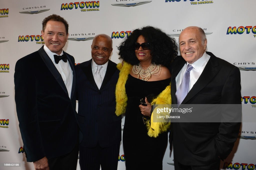 Producer Kevin McCollum, Record Producer Berry Gordy, Performer <a gi-track='captionPersonalityLinkClicked' href=/galleries/search?phrase=Diana+Ross&family=editorial&specificpeople=202836 ng-click='$event.stopPropagation()'>Diana Ross</a>, and Chairman and CEO of Sony Music Entertainment <a gi-track='captionPersonalityLinkClicked' href=/galleries/search?phrase=Doug+Morris&family=editorial&specificpeople=830291 ng-click='$event.stopPropagation()'>Doug Morris</a> attend 'Motown: The Musical' Opening Night at Lunt-Fontanne Theatre on April 14, 2013 in New York City.