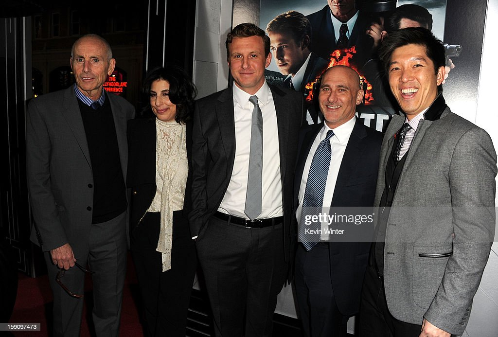 Producer Kevin McCormick, Warner Bros. Pictures Worldwide Marketing President Sue Kroll, Director Ruben Fleischer, Warner Bros. Pictures Group President Jeff Robinov and producer Dan Lin arrive at Warner Bros. Pictures' 'Gangster Squad' premiere at Grauman's Chinese Theatre on January 7, 2013 in Hollywood, California.