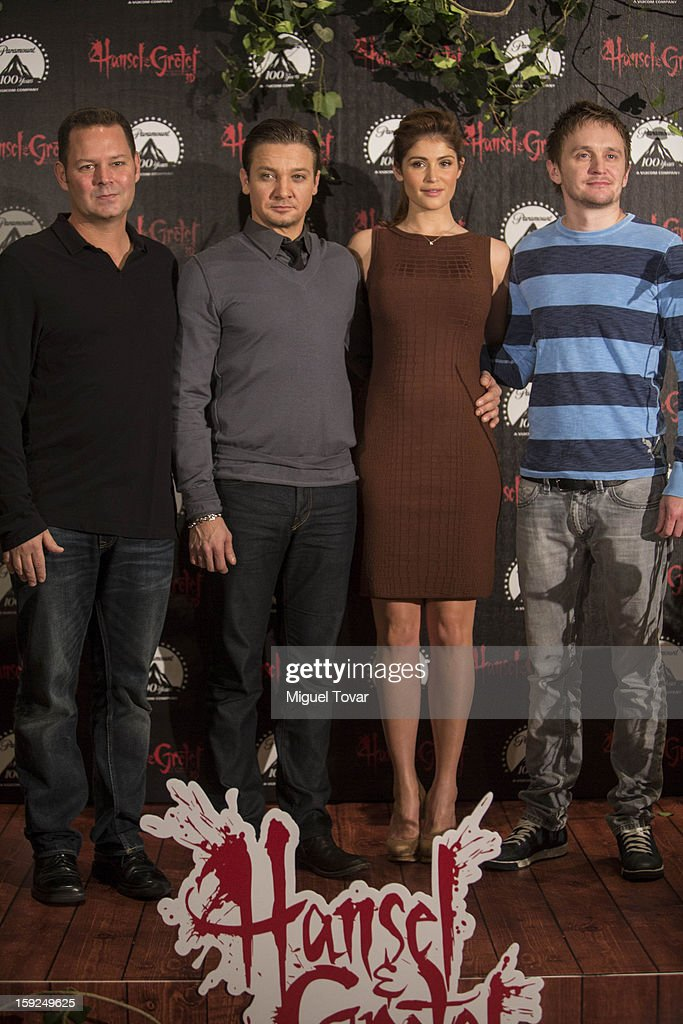 Producer Kevin Messick, Jeremy Renner, Gemma Arterton and director Tommy Wirkola pose for the 'Hansel and Gretel: Witch Hunters' photocall at St. Regis Hotel on January 10, 2013 in Mexico City, Mexico.
