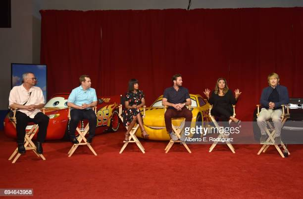Producer Kevin Reher director Brian Fee actors Kerry Washington Armie Hammer Cristela Alonzo and Owen Wilson speak at the 'Cars 3' Press Conference...