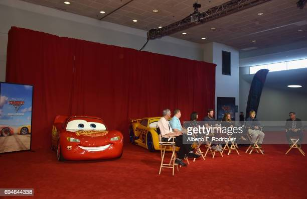 Producer Kevin Reher director Brian Fee actors Kerry Washington Armie Hammer Cristela Alonzo Owen Wilson and Ray Evernham speak at the 'Cars 3' Press...