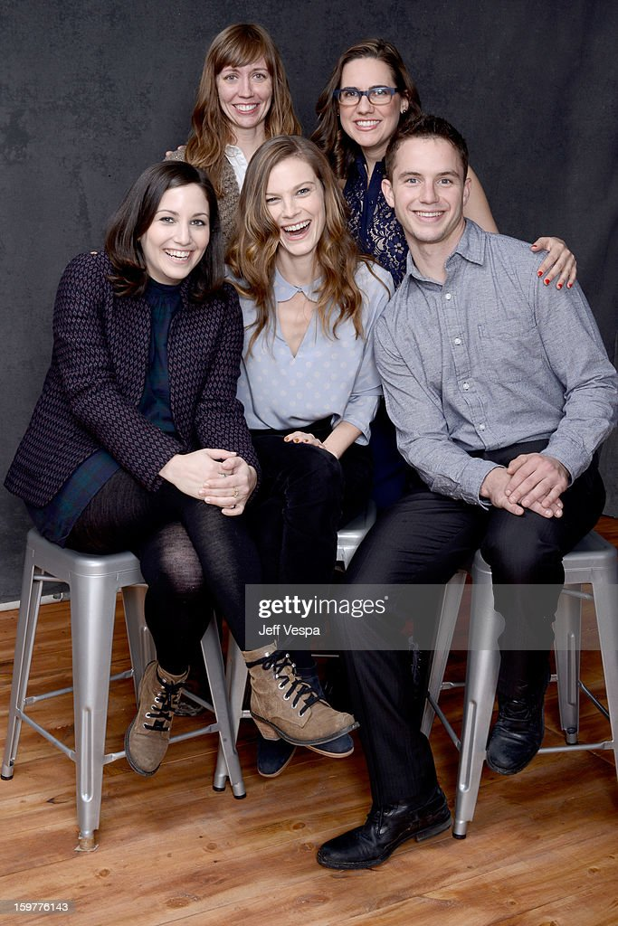 Producer Kim Sherman, actress Jennifer Prediger (Bottom L-R) director Hannah Fidell, actress Lindsay Burdge, and actor Will Brittain pose for a portrait during the 2013 Sundance Film Festival at the WireImage Portrait Studio at Village At The Lift on January 20, 2013 in Park City, Utah.