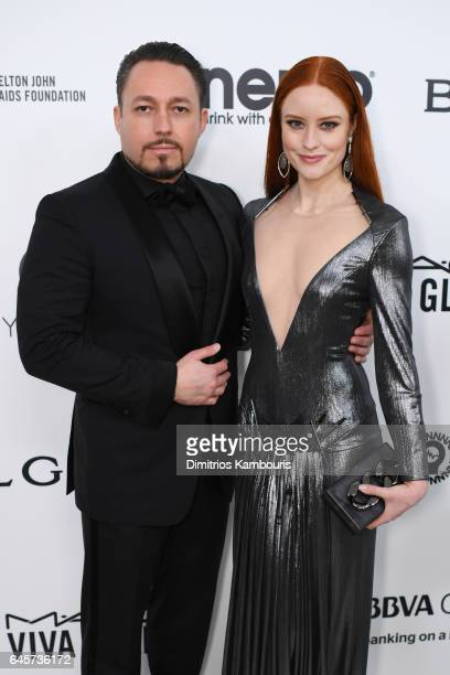 Producer Klemens Hallmann and Barbara Meier attend the 25th Annual Elton John AIDS Foundation's Academy Awards Viewing Party at The City of West...