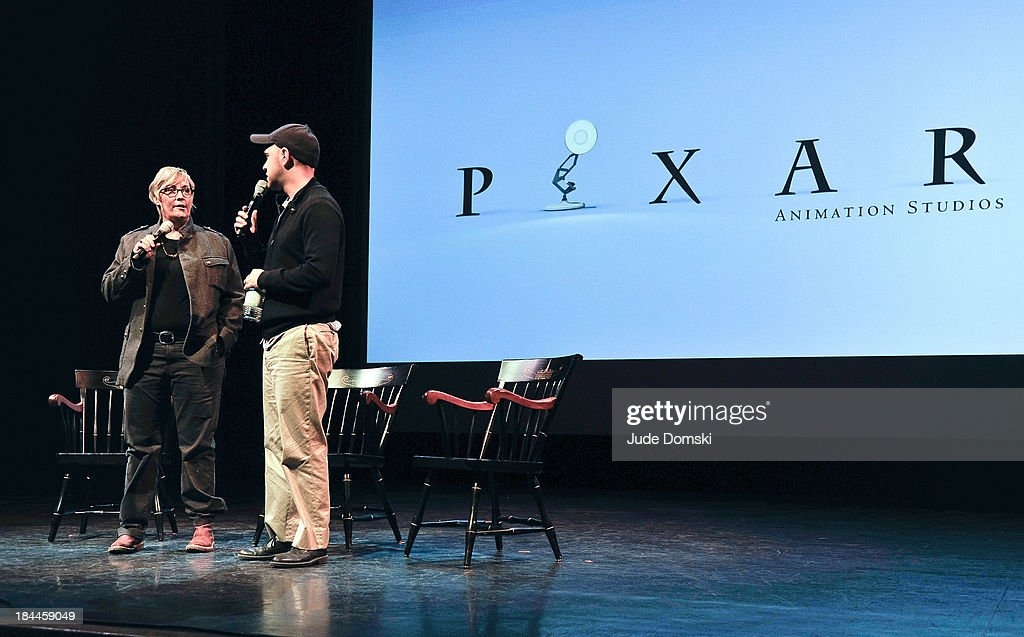 Producer Kori Rae and Director Dan Scanlon on stage during 'A Tribute to Pixar' at Hopkins Center Spaulding Auditorium on October 13, 2013 in Hanover, New Hampshire.