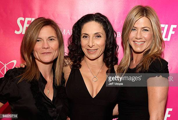Producer Kristin Hahn yoga instructor Mandy Ingber and actress Jennifer Aniston attend Mandy Ingber's Yogalosophy DVD launch with SELF magazine and...